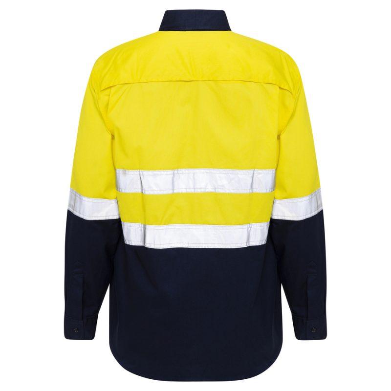Yellow Navy Hi Vis Reflective Taped Work Shirt - back