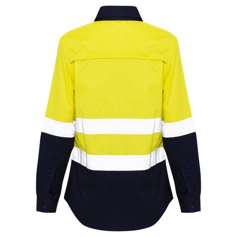 Womens Yellow Navy Hi Vis Reflective Tape Work Shirt - Back