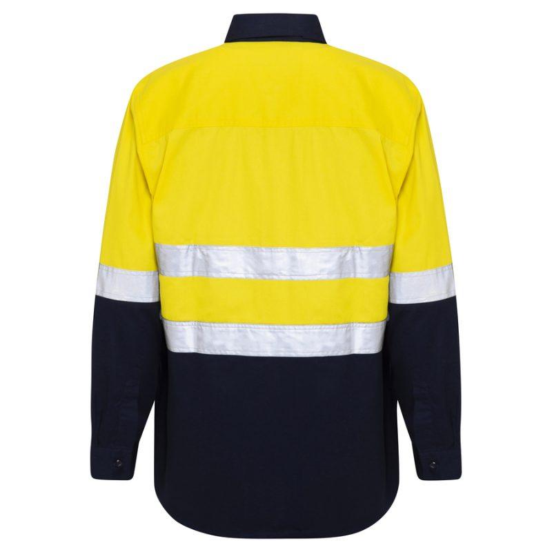 Yellow Navy Hi Vis Reflective Taped Closed Front Work Shirt - back
