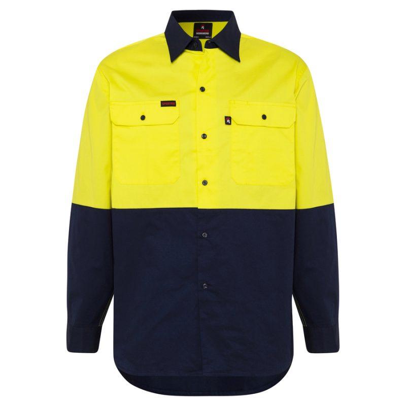 Yellow Navy Hi Vis Work Shirt - Front