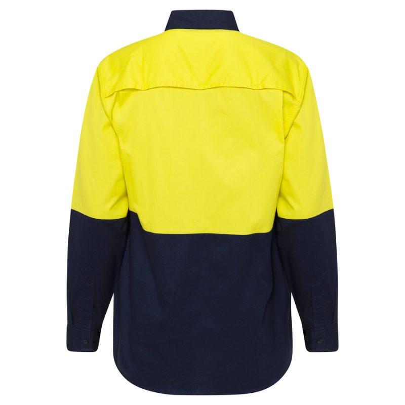Yellow Navy Hi Vis Work Shirt - back