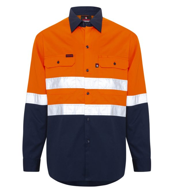 Orange Navy Hi Vis Reflective Taped Work Shirt - Front