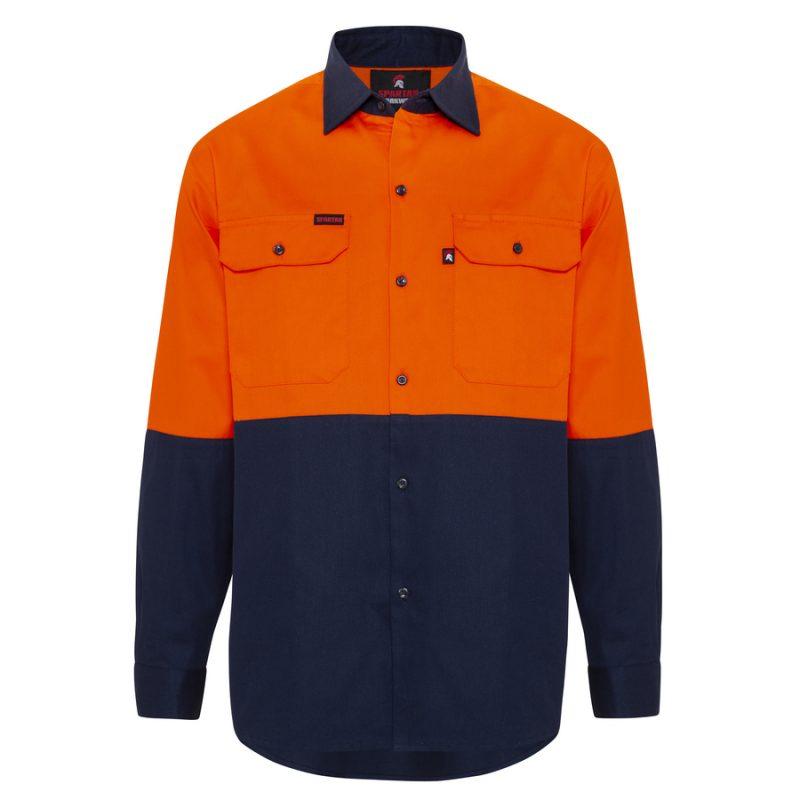 Orange Navy Hi Vis Cotton Drill Work Shirt - Front