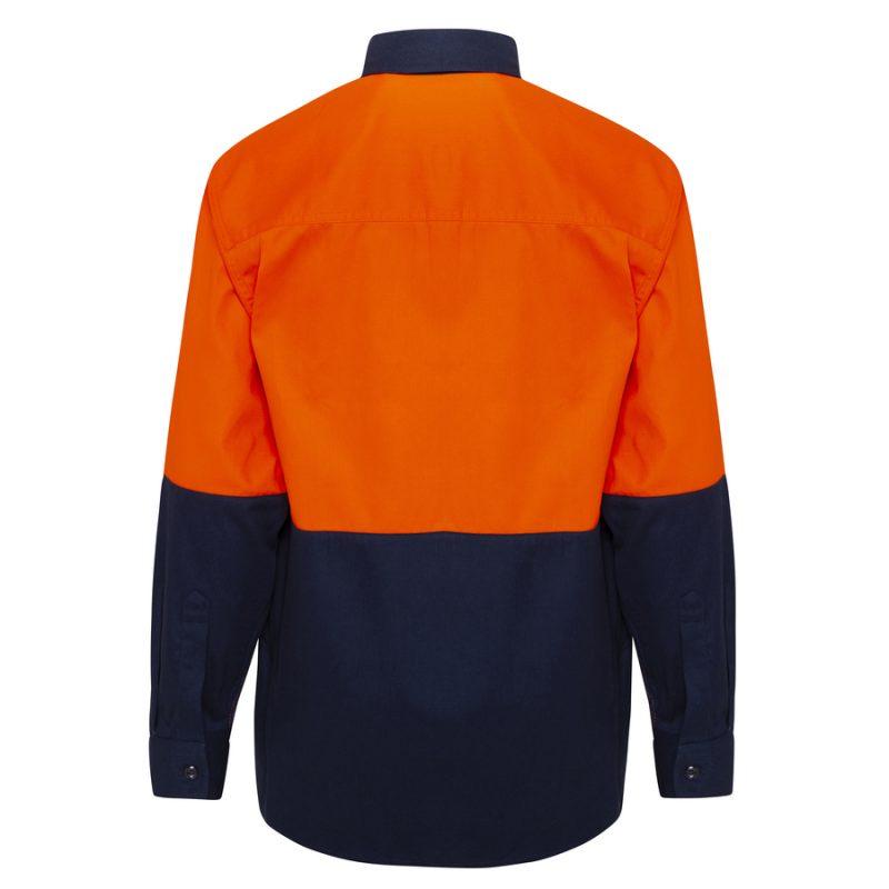Orange Navy Hi Vis Cotton Drill Work Shirt - Back