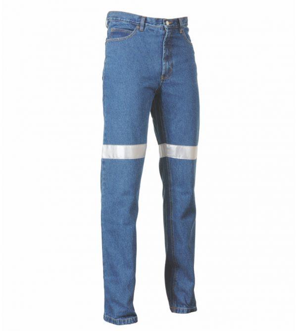 Stretch Denim Reflective Blue Jeans
