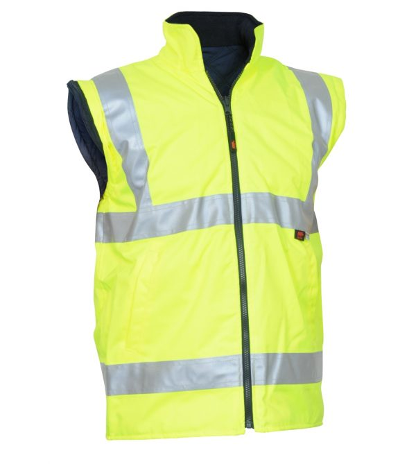 HiVis Yellow Waterproof Safety Vest with Reflective Tape