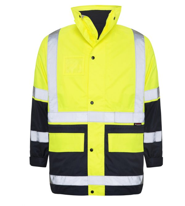 5 in 1 Yellow Navy Waterproof Taped Hi Vis Jacket - Front