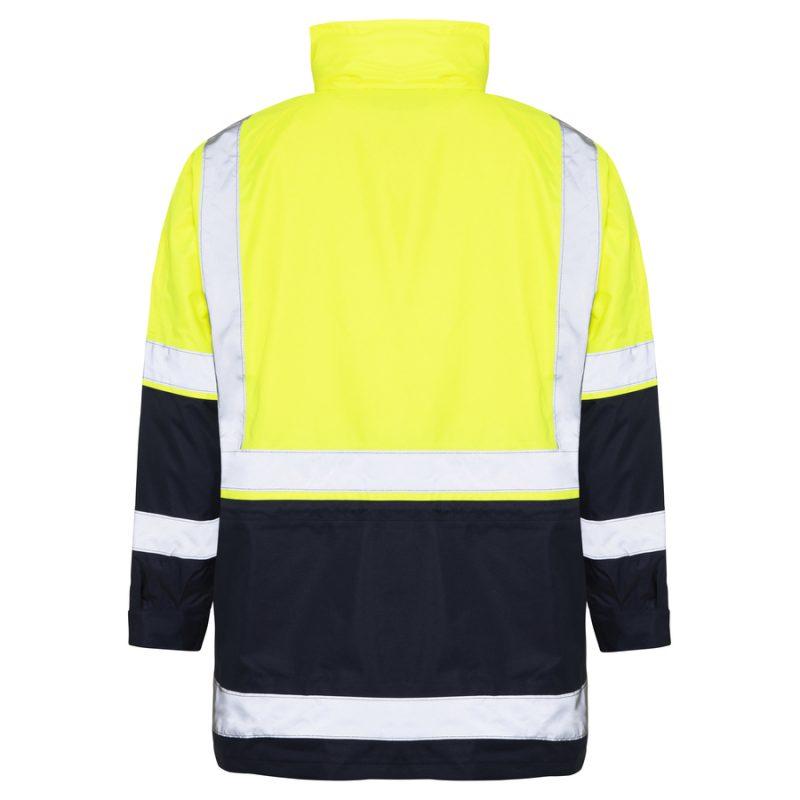 5 in 1 Yellow Navy Waterproof Taped Hi Vis Jacket - Back
