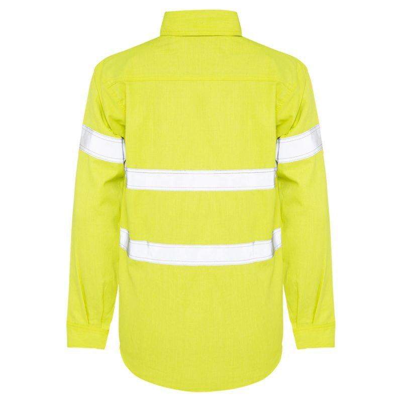 Yellow Hi Vis Reflective Taped Work Shirt - Back View