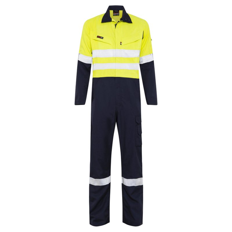 Navy and Yellow Arc Flash Hi Vis Reflective Tape Coverall Front View
