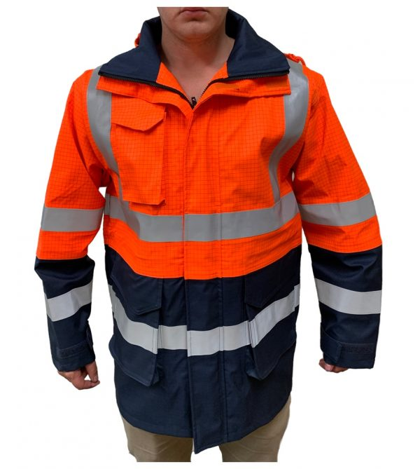 Wet Weather FR Jacket - Orange/Navy