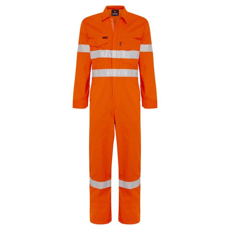 Orange Cotton Drill Hi Vis Reflective Taped Overalls
