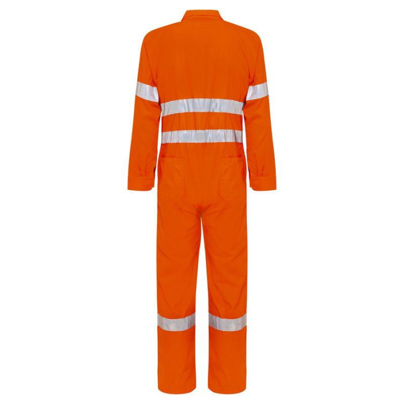 Orange Cotton Drill Hi Vis Reflective Taped Overalls - Back
