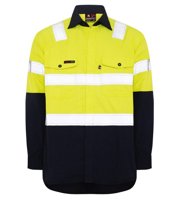Yellow Navy Inherent FR HRC2 Hi Vis Reflective Shoulder Tape Work Shirt