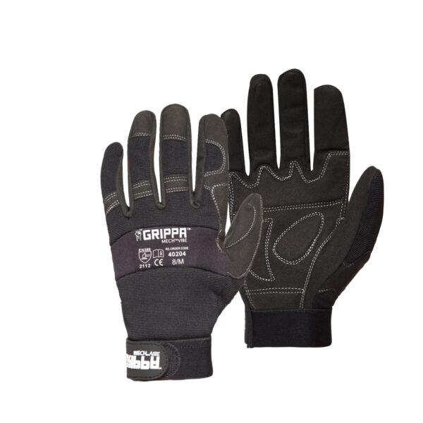 Grippa Black Anti Vibration Mechanic Gloves
