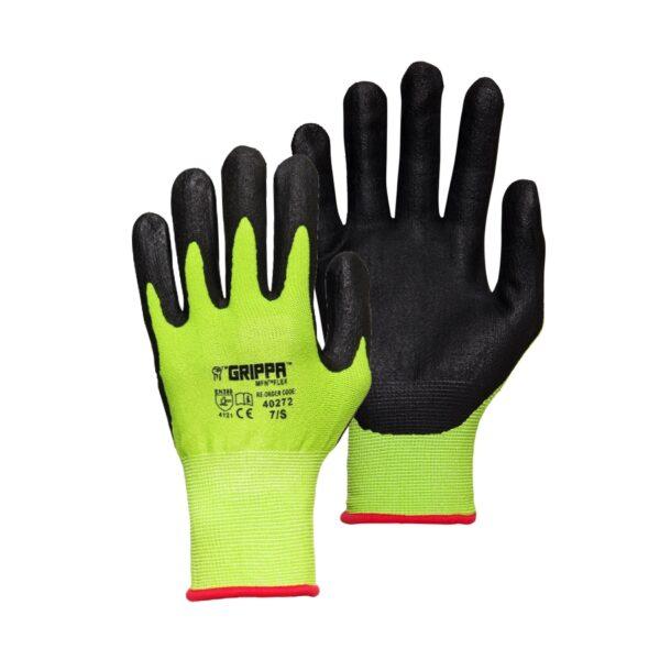 Grippa Hi Vis Yellow MFN Flex Nitrile Grip Gloves