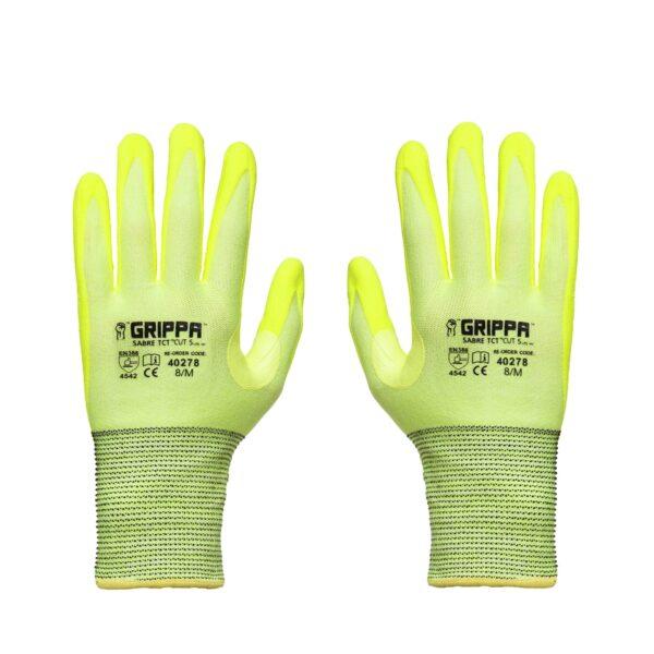 Hi Vis Yellow Grippa TCT Lightweight Cut Resistant Gloves - back
