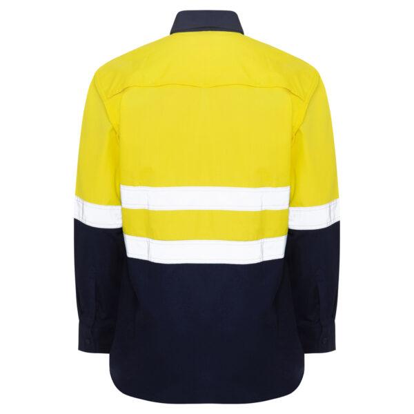 Hi Vis Yellow Navy Ripstop Shirt with reflective tape
