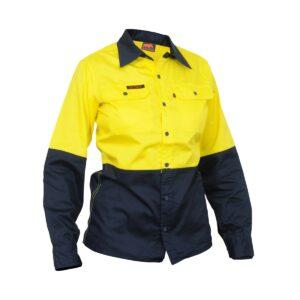 Hi Vis Yellow Navy Womens Cotton drill work shirt