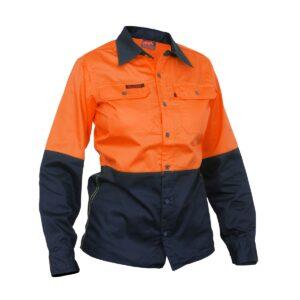 Hi Vis Orange Navy Womens Cotton drill work shirt