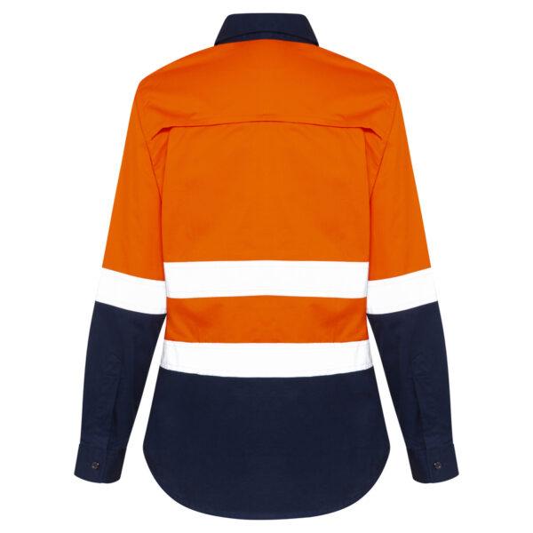 Hi Vis Orange Navy Blue Womens Cool Work Shirt with Reflective Tape