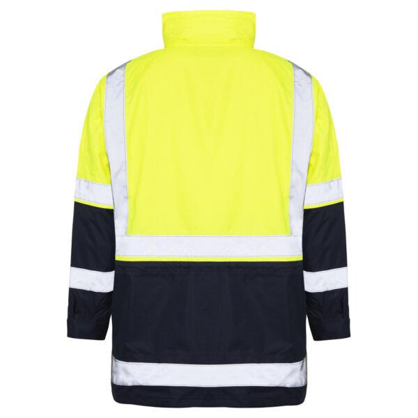 Hi Vis Yellow Black 5-in-1 waterproof reflective jacket - outer jacket