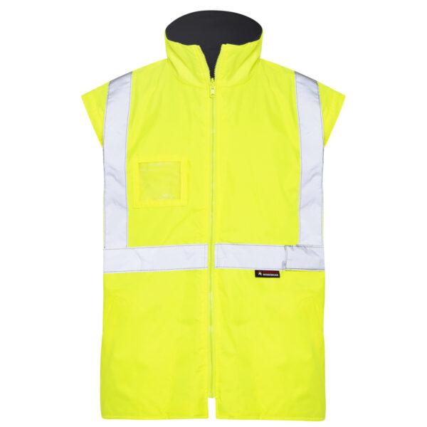 Hi Vis Yellow Black 5-in-1 waterproof reflective jacket - yellow vest