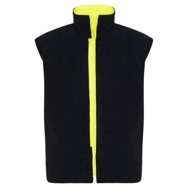 Hi Vis Yellow Black 5-in-1 waterproof reflective jacket - black inner vest