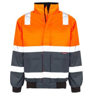 Hi Vis Orange Waterproof Bomber Jacket with Reflective Tape - front