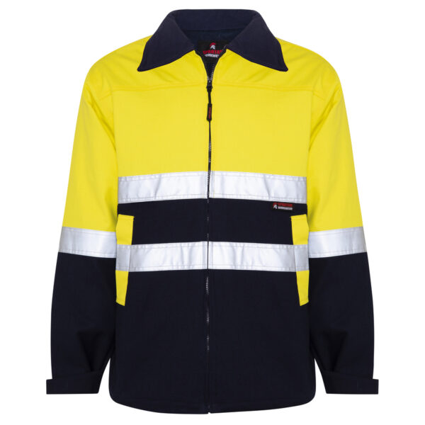 Hi Vis Yellow Navy Cotton Drill Heavyweight Jacket with Reflective Tape