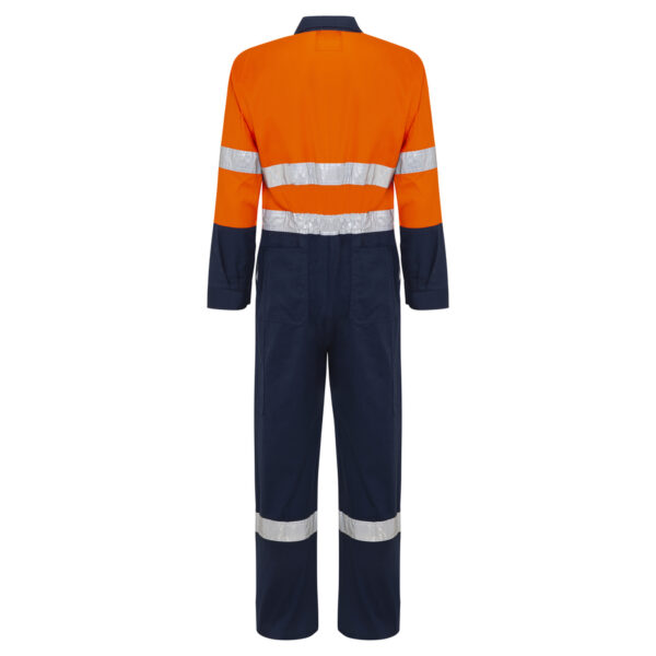 Orange Navy Hi Vis Cool Cotton Drill Overalls with Reflective Tape