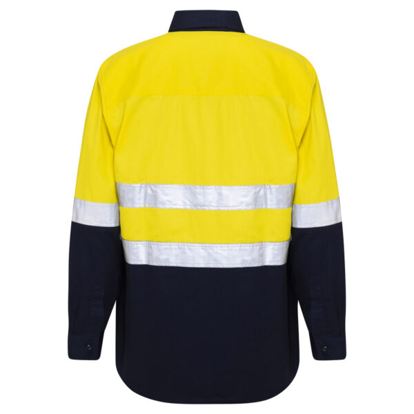 Hi Vis Yellow Navy Blue Closed Front Work shirt with reflective tape - back