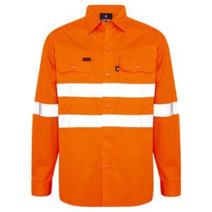 Hi Vis Orange Work shirt with reflective tape around chest front