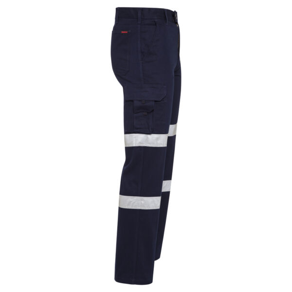 Navy Blue Cotton Drill Cargo Work Pants with Reflective Tape - side view