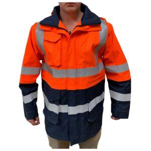 Hi Vis Orange Navy FR Arc Rated Waterproof Jacket with reflective tape